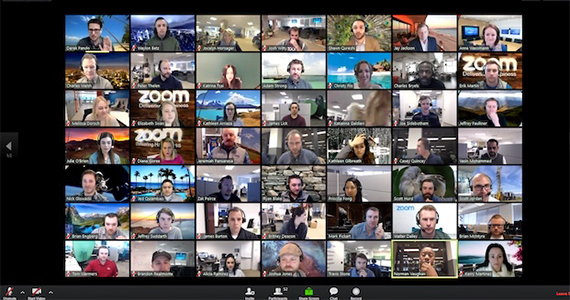People attend a virtual meeting using the online platform Zoom.